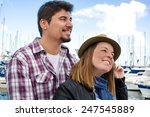 young woman and young man on a... | Shutterstock . vector #247545889