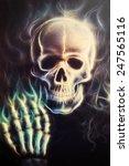 Skull With Hand Airbrush...