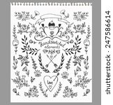set of floral hand drawn... | Shutterstock .eps vector #247586614