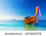 Long Boat And Tropical Beach ...