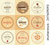 set of 9 circle bakery labels ... | Shutterstock .eps vector #247609093