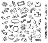 hand drawn doodle set   arrows  ... | Shutterstock .eps vector #247609618