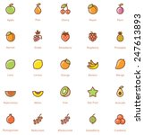 vector fruits icon set | Shutterstock .eps vector #247613893