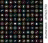 100 army icons big universal... | Shutterstock . vector #247621753
