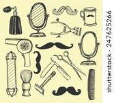 hand drawn retro barbershop set.... | Shutterstock .eps vector #247625266