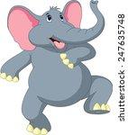 happy elephant cartoon | Shutterstock . vector #247635748