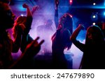 Stock photo group of dancing young people enjoying night in club 247679890