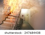 fire in the staircase in the... | Shutterstock . vector #247684438