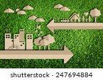 paper cut of eco on green grass | Shutterstock . vector #247694884