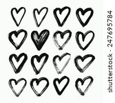 abstract hearts hand drawn set. ... | Shutterstock .eps vector #247695784