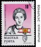 Small photo of HUNGARY - CIRCA 1989: Stamp printed in Hungary, shows Florence Nightingale, circa 1989