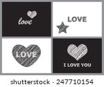 black and white love cards | Shutterstock .eps vector #247710154