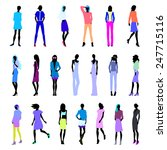 set of female silhouettes in... | Shutterstock .eps vector #247715116