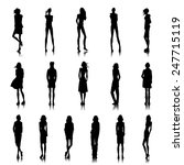 set of female silhouettes in... | Shutterstock .eps vector #247715119