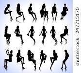 set of sitting fashion female... | Shutterstock .eps vector #247715170