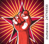 retro punching fist sign. great ... | Shutterstock . vector #247745530
