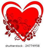 red heart and   flowers... | Shutterstock .eps vector #24774958