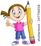 young girl holding a big pencil ... | Shutterstock .eps vector #247756018