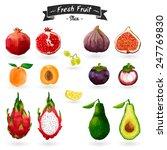 set of fruits in watercolor... | Shutterstock .eps vector #247769830