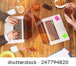 workplace with notebook  office ... | Shutterstock . vector #247794820