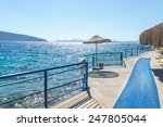 beach with pier on turkish...   Shutterstock . vector #247805044
