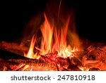 hot fire in darkness on... | Shutterstock . vector #247810918