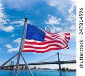 Manhattan Bridge With American...