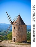 Small photo of Old stone windmill in Saint Saturnin d Apt, Provence, France