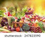 fruits and vegetables in wicker ... | Shutterstock . vector #247823590