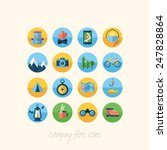 camping flat icons set for...