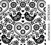 Folk Art Seamless Monochrome...