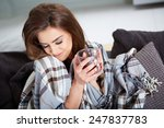a young woman caught a cold... | Shutterstock . vector #247837783