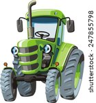 Green Cartoon  Tractor For...