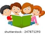 cartoon kids reading book | Shutterstock .eps vector #247871293
