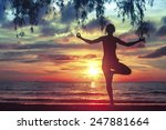 silhouette young woman... | Shutterstock . vector #247881664