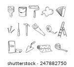 house remodel doodle icons | Shutterstock .eps vector #247882750