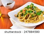 plate of spaghetti with porcini ... | Shutterstock . vector #247884580