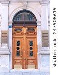 retro wooden entrance door on... | Shutterstock . vector #247908619