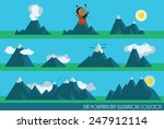 collection of flat mountains... | Shutterstock .eps vector #247912114