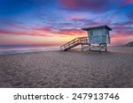 Sunset At A Lifeguard Tower In...