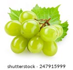 Green Grape With Leaf Isolated...