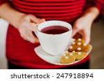 Ginger Cookies With A Cup Of Tea