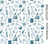 hand drawn chemistry seamless... | Shutterstock .eps vector #247927048