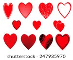 a set of heart icons on white... | Shutterstock .eps vector #247935970
