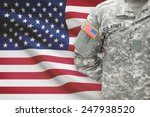 American Soldier With Flag On...