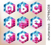 set of mosaic letter icons.... | Shutterstock .eps vector #247986208