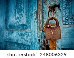 Padlock On An Old Door