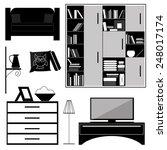 set of furniture for interior... | Shutterstock .eps vector #248017174