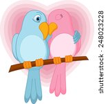 lovely bird on a branch  | Shutterstock .eps vector #248023228