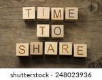 time to share text on a wooden... | Shutterstock . vector #248023936